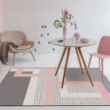 Alfombra nórdica de celosía geométrica color rosa oscuro para el hogar, dormitorio, cabecera, entrada, ascensor, alfombrilla para el suelo, sofá, mesa de café, alfombra antideslizante