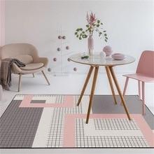 Nordic dark สีชมพูสีเทา geometric lattice home ห้องนอน entrance ลิฟท์ชั้นโซฟากาแฟตารางพรมกันลื่น