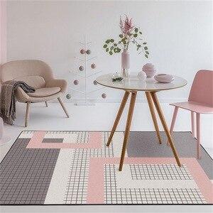 Image 1 - Nordic dark pink gray geometric lattice mat home bedroom bedside entrance elevator floor mat sofa coffee table anti slip carpet