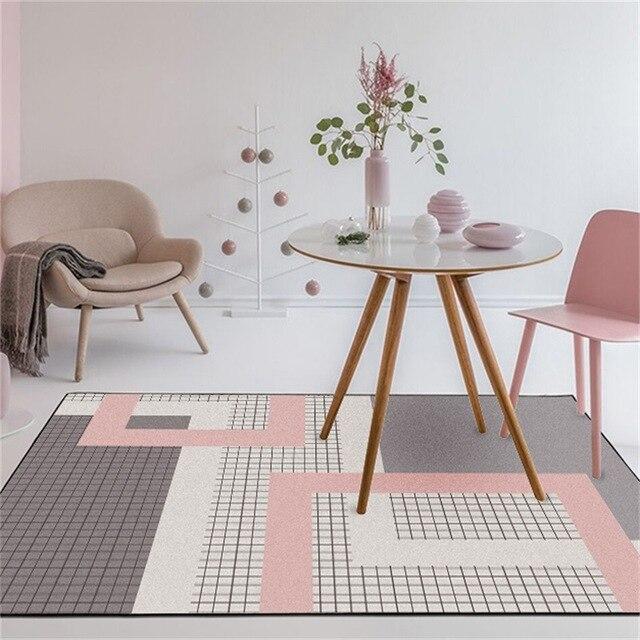 Nordic dark pink gray geometric lattice mat home bedroom bedside entrance elevator floor mat sofa coffee table anti slip carpet
