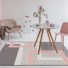 Nordique rose foncé gris géométrique treillis tapis maison chambre chevet entrée ascenseur tapis de sol canapé table basse tapis antidérapant