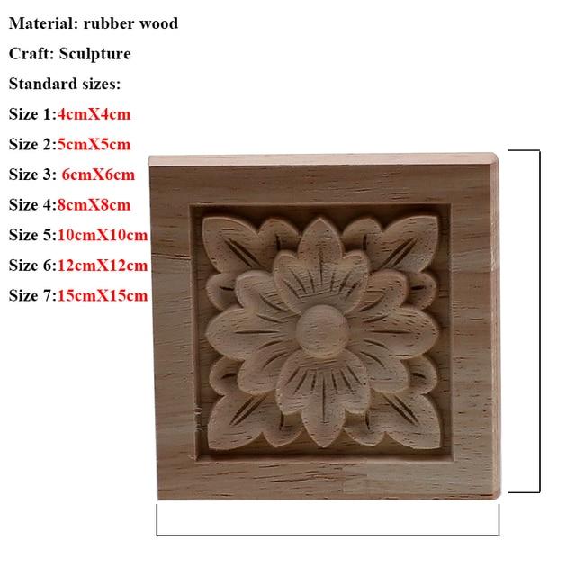 VZLX Square Wood Applique Carved Decal Corner Onlay Unpainted Furniture For Vintage Home Decor Door Cabinet Decoration Maison 3