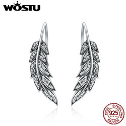 WOSTU Real 100% 925 Sterling Silver Vintage Feather Wings Long Drop Earrings For Women Sterling Silver Jewelry Brincos CQE215