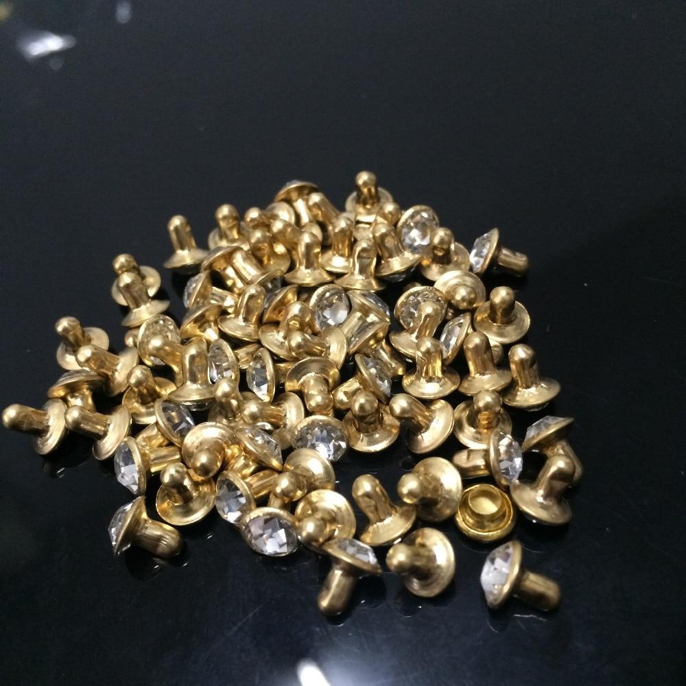 100 Sets 8mm CZ Blanco Claro Cristales Rhinestone Remaches Rapid Gold Nailhead Spots Studs DIY Hacer Zapatos Bolsos Cinturones envío gratis