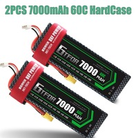 GTFDR 2PCS RC battery Lipo 7.4V 7000mah 60C Max 120C 2S1P RC Lipo Battery hard case for RC 1/10 Traxxas Stampede Car Truck