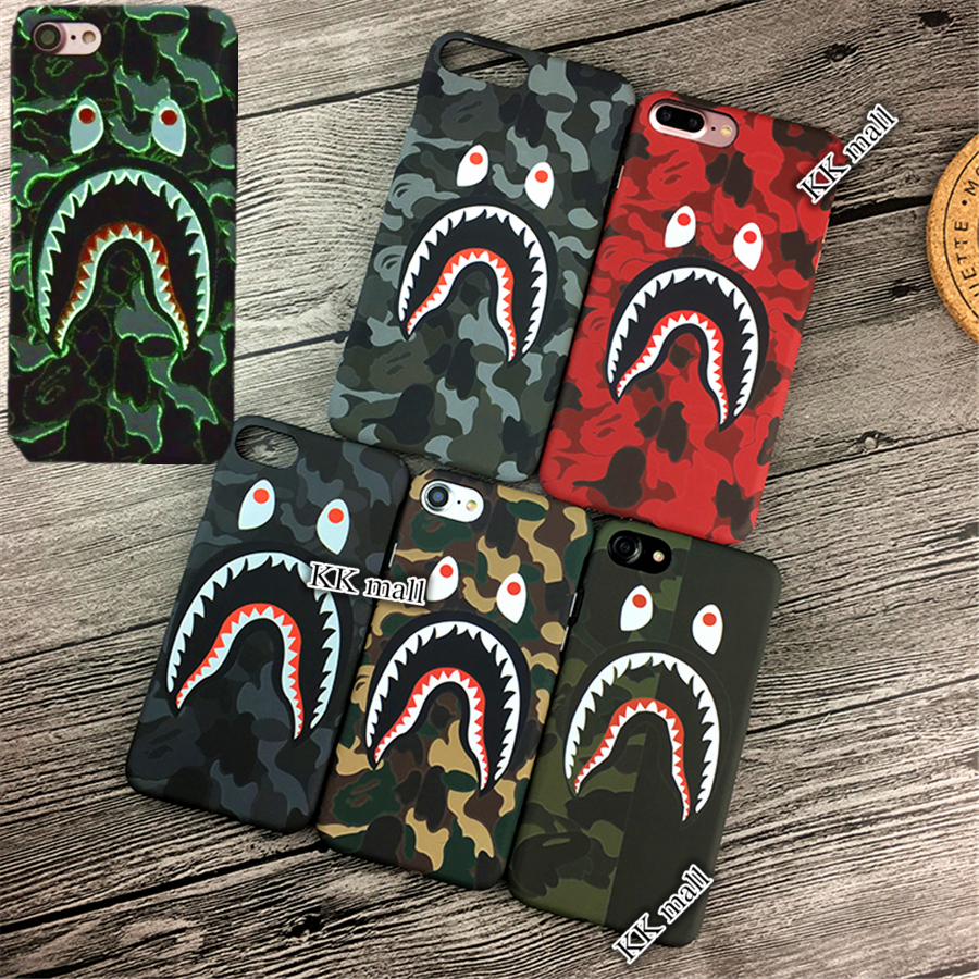 Fashion camouflag Shark Case For iPhone 7 6 6s Plus japan Shark Army Phone Cover For iPhone 6 6s Hard PC Matte Coque Fundas