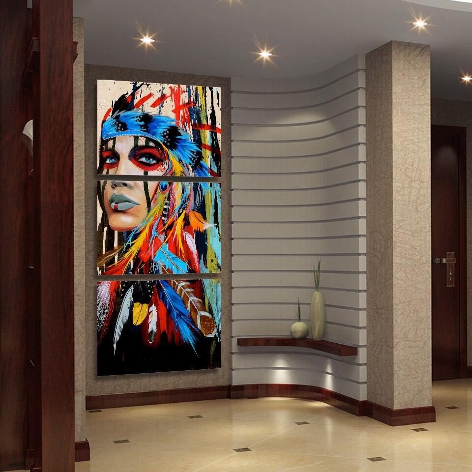 3 Pièce Toile Art Native American Indian Cuadros Peintures sur Toile D'art de Mur pour La Maison Décorations Mur Décor Œuvre (cadre)
