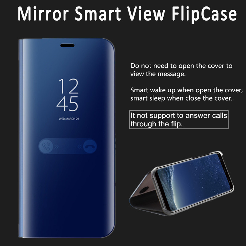 Flip Stand Clear View Smart Mirror Phone Case For Samsung Galaxy S9 S8 Note8 S9plus Luxury Plating Shine Glitter Flip Cover Capa