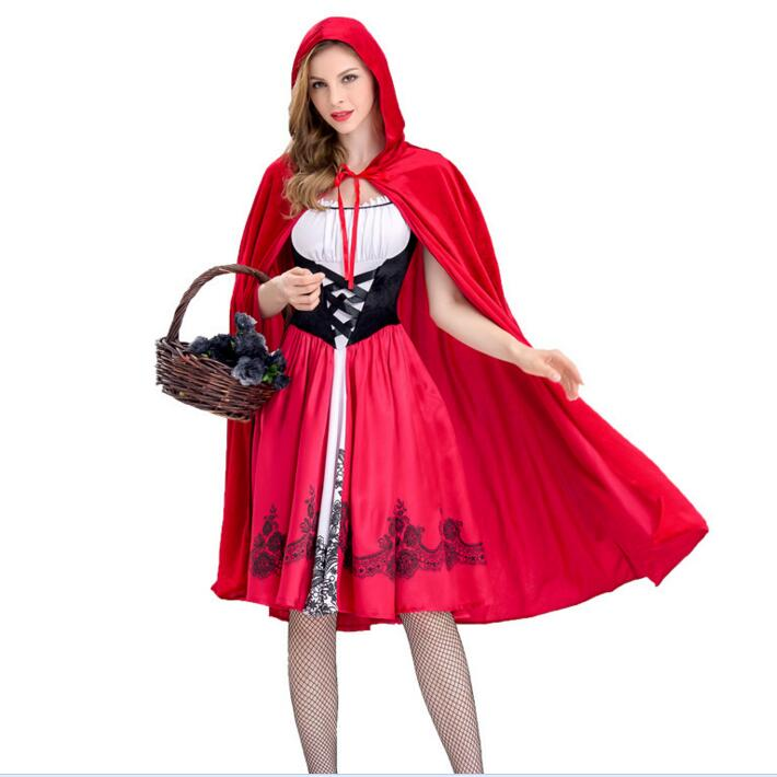 Купить с кэшбэком Little Red Riding Hood Costume For Women Fancy Adult Halloween Cosplay Fantasia Dress+Cloak Cosplay Costume For Party