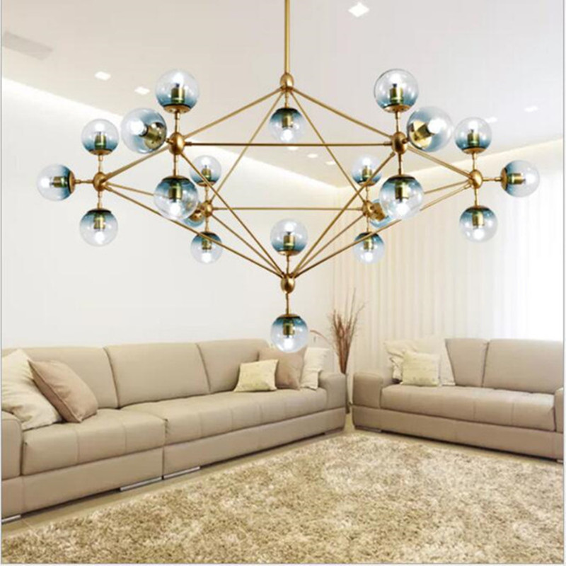 Nordique Studio Art Or Led Lustre Boule Magique la Lumière D'ADN verre Globe Chambre Lumière Café Boutique Lumière Avec E27 Led ampoules