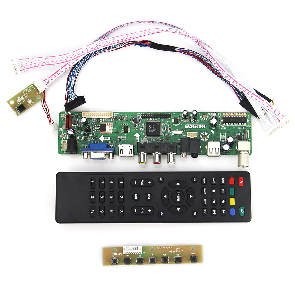 T.VST59.03 For B156XW02 V.2 BT156GW01 v4 LCD/LED Controller Driver Board (TV+HDMI+VGA+CVBS+USB) LVDS Reuse Laptop 1366x768 lcd led controller driver board for b156xw02 ltn156at02 t vst59 03 tv hdmi vga cvbs usb lvds reuse laptop 1366x768