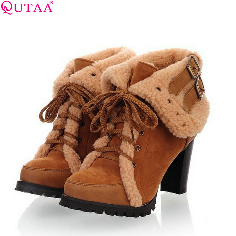 ФОТО QUTAA Autumn Winter Boots Zip High Heels Women Ankle Boots Woman Pumps Shoes Size 34-43