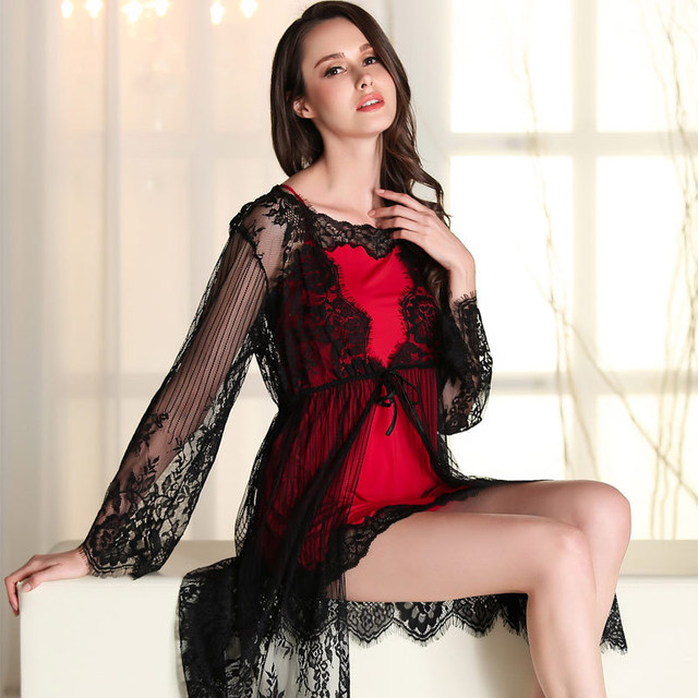 2 pics Princess sexy pajamas eyelash lace Nightgown microfiber black and red Emulation Silk Condole Belt Sleep Princess robe