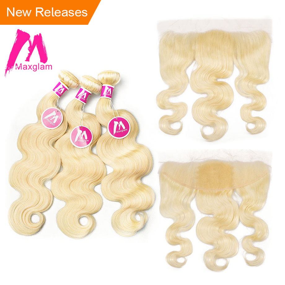 Blonde 613 bundles with frontal closure 3 4 Human Hair Bundles With Frontal Closure Brazilian Body