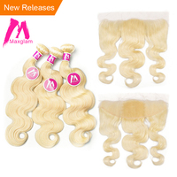 Blonde 613 bundles with frontal closure Human Hair Bundles With Frontal Closure Brazilian Body Wave Hair
