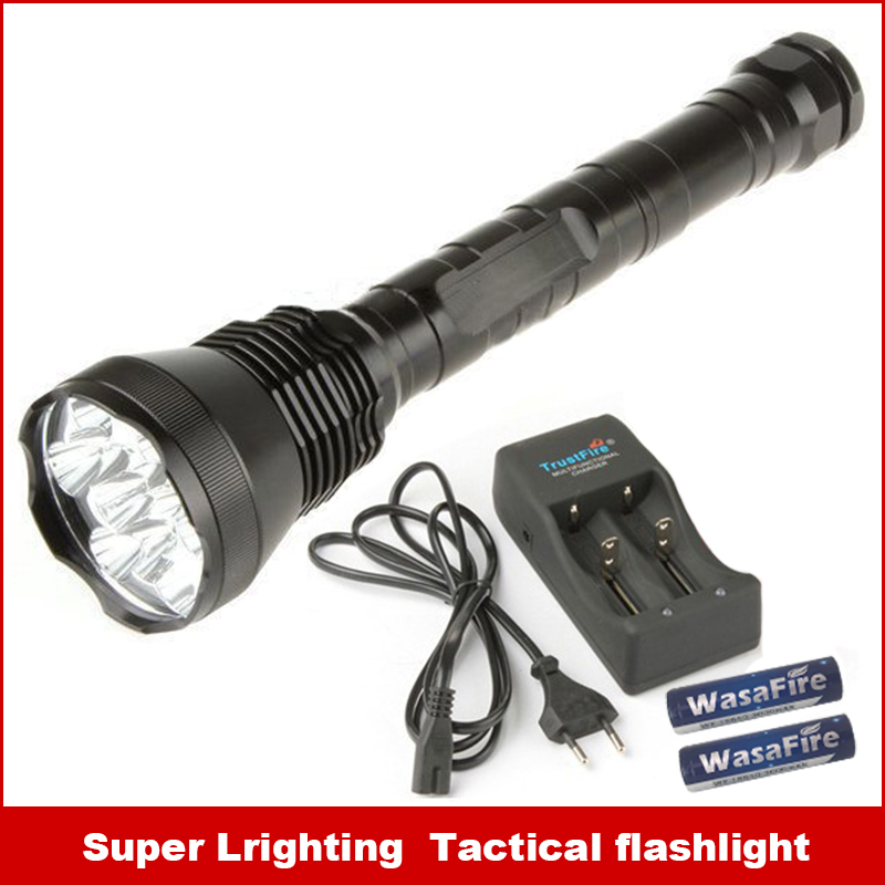 New self-defense LED Flashlight LED light have Battery and Charger 13000LM XM-L 12T6 12x battery 18650 rechargeable batteries 6000 lm 3 led xm l t6 led flashlight torch 3t6 self defense lanterna 16850 flash light linterna led battery charger