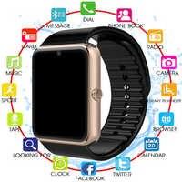 Novo bluetooth relógio inteligente gt08 com tela de toque grande apoio da bateria tf cartão sim câmera para ios iphone android telefone pk a1
