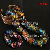 TNL412 Nepal Colorful Glass Beads Necklace And Braclet Jewelry Sets 2011 BOHO Fashion No MOQ