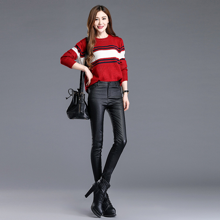2017 Faux Leather Sexy Women Leggings Pencil Skinny Slim PU Leather Winter Thin Stretchy Jeggings Push Up Calzas Mujer LG21 - 4