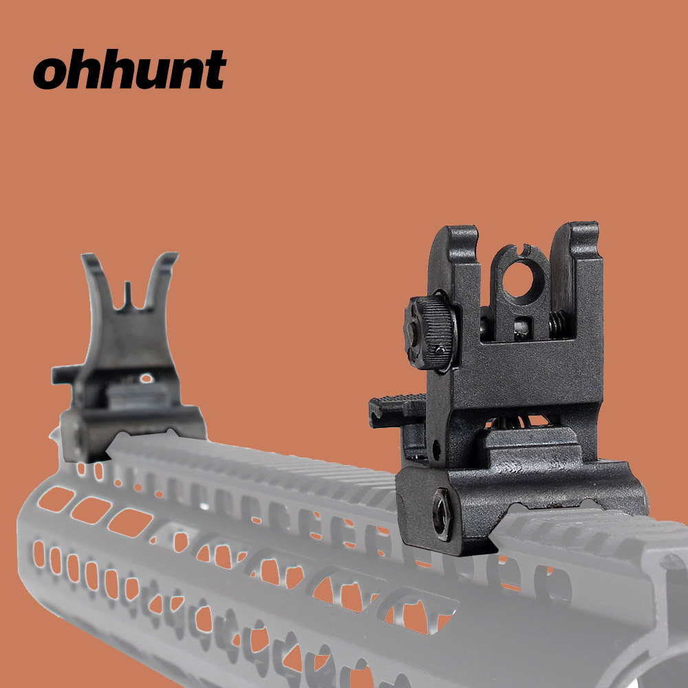 Ohhunt Hunting M4 AR15 Front Rear Sight Set Polymer Windage Adjustment With Picatinny Weaver Rail For Shooting AR-15 Rifle