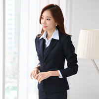 Formal Women Business Suits With Pant Blazer Vest 3 Piece Set New 2016 Spring Winter Fashion