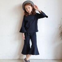 Retail 2017 Autumn Winter New Children Suit Lovely Flare Sleeve T Shirt Tops Horn Pants 2pcs
