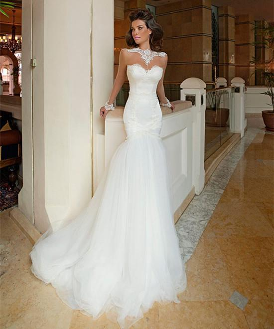 Trumpet Style Wedding Gowns: DAW3083 Newest Style Lace Wedding Dresses High Neck Sheer