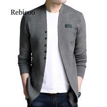 купить 2019 Middle-Long length Mens Solid Sweater Cardigan Trench Male Casual Autumn pure color  cardigan sweater по цене 1230.98 рублей