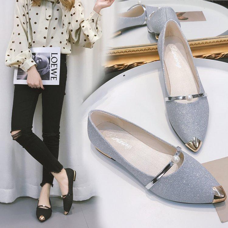 Argent Version Peu De Nouveau Chaussures argent Dames Noir or Bouche Chaussures 2018 L'automne Pois Ensemble Coréenne Plat Paillettes Scoop Profonde Pointu tqzwwvS