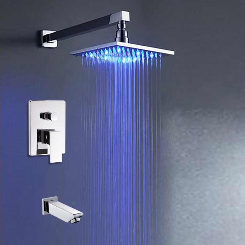 Polished Chrome Led Light Square Rainfall Shower Faucet with Tub Spout Shower Mixer Taps Wall Ceiling