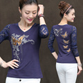 2017 New Fashion Autumn Women's T-shirt Lace Long Sleeve V-neck Printing Embroidery Slim T Shirts Female Sexy Tops Tee JA2272