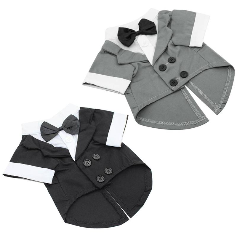 Tuxedo Pet Dog Clothes Bow Tie Suit Clothing Puppy Wedding Party Jacket Coat for Dog Cats Spring Autumn Pet Apparels