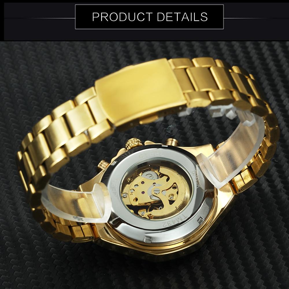 WINNAAR gouden horloges mannen sport militaire skeleton polshorloges - Herenhorloges - Foto 5