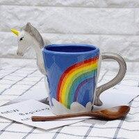 Cartoon Unicorn Mug 3D Ceramic Coffee Cup Children Girl Creative Cute Gift Wild Finding Magical Rainbow Horse Breakfast Cups