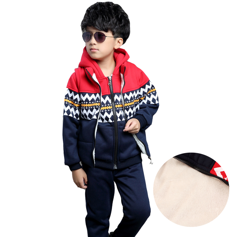 Boys Clothing Sets Thick Plus Velvet Hoodie & Waistcoats & Pants 3Pcs/Set Autumn Winter Outfits Warm Kids Clothes Suits 4 8 9 12 худи boys hoodie