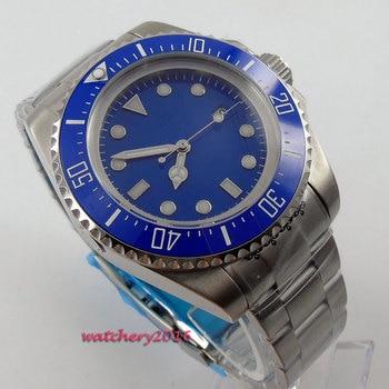Hot styles 44mm Bliger Blue sterile dial ceramic bezel Date Crystal Luminous Hands Automatic Mechanical Men's Watch