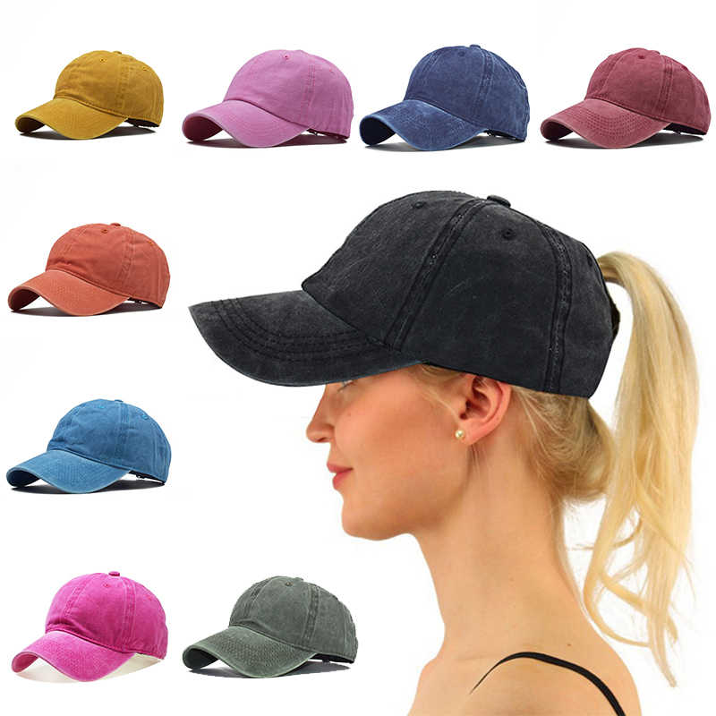 Casual Men Cotton Solid Baseball Cap Vantage Women Baseball Hat Girl Adjustable Ponytail Caps Outdoor Sunshade Solid Color Hats