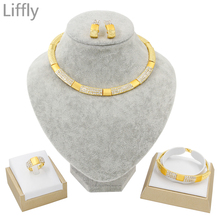 New Dubai Gold Jewelry Sets Bridal Necklace/Earrings/Ring/Bracelet  Fashion Wedding Jewelry Nigerian Jewelry Set for Women champagne gold wedding bridal jewelry set popular nigerian wedding necklace best design new item ncd097