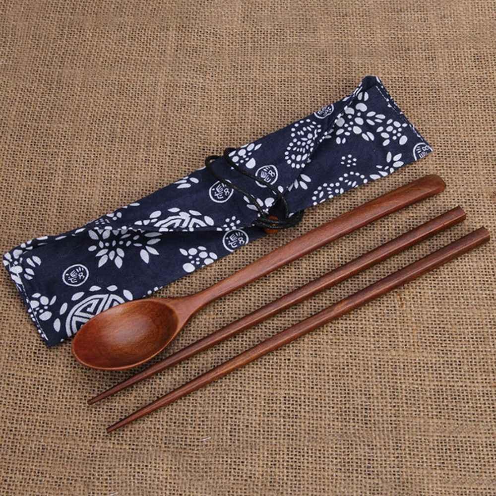 Drewniane patyczki i łyżki podróży garnitur chińskie pałeczki do jedzenia przyjazne dla środowiska przenośne drewniane sztućce