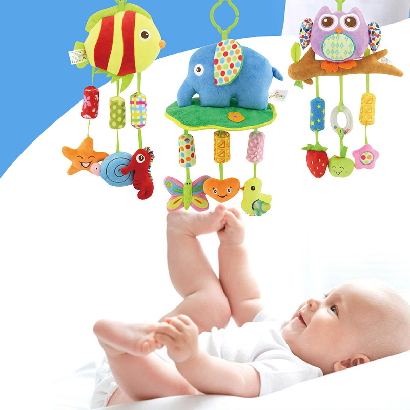 Newborn Infant Crib Rattles Bell Toy Cartoon Animal Toddler Bed Hanging Owl/Fish/Elephant Baby Plush Wind Chime Toys NS