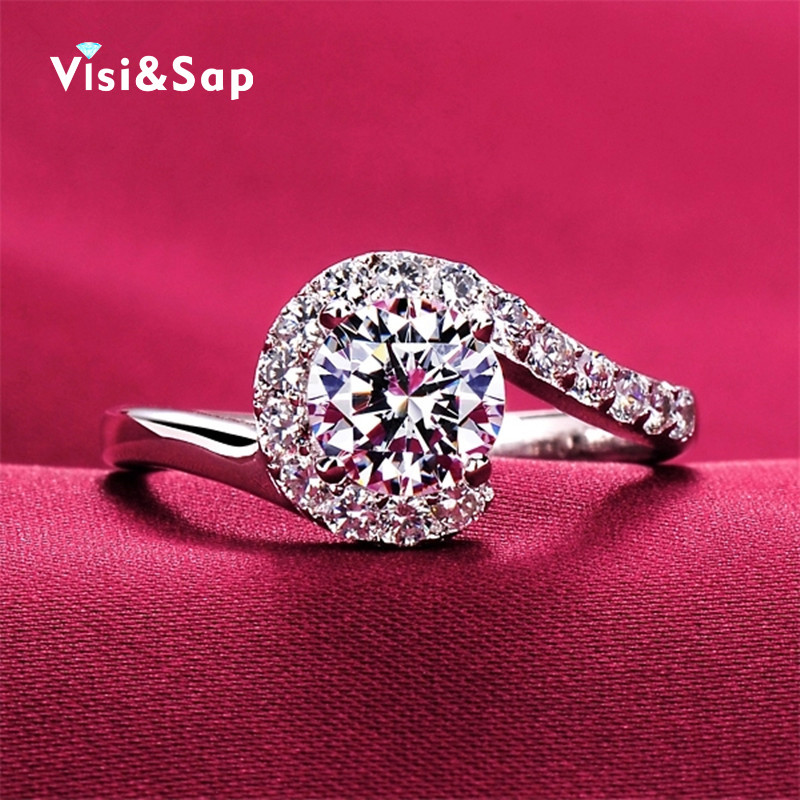 Silver plated Rings for women Vintage jewelry AAA CZ diamond engagement wedding bague for female Bijoux hot style VSR049
