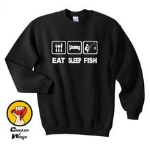 Eat Sleep Fish Gift Funny Top Crewneck Sweatshirt Unisex More Colors XS - 2XL цены