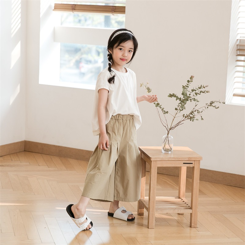 2018 Trendy Kids Clothes Summer Girls Sets White Cotton T Shirt + Wide Leg Pants Simple Brief Girls Children Clothing new 2017 cotton little girls shirt off the shoulder white t shirt kids top children clothes tolder clothing kids summer blouse