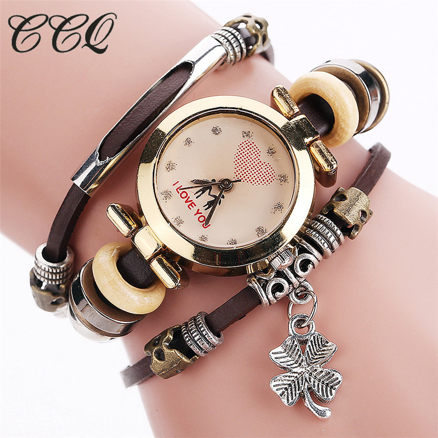 CCQ Fashion Vintage Cow leather Bracelet Watches Casual Women Multi-layer Wristwatch Quartz Watch Relogio Feminino Gift 2062 ccq luxury brand vintage leather bracelet watch women ladies dress wristwatch casual quartz watch relogio feminino gift 1821