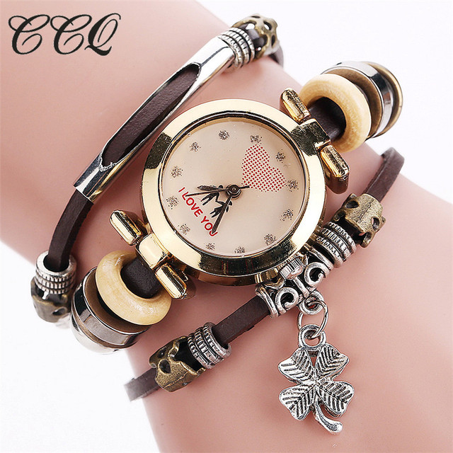 CCQ Fashion Vintage Cow leather Bracelet Watches Casual Women Multi-layer Wristw