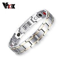 Vnox 2016 nuevo imán brazalete de la pulsera para los hombres cuidado de la salud magnética de acero inoxidable/germanio