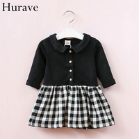 Hurave Spring And Autumn Children S Clothing Autumn Doll Collar Pendulum Lattice Pattern Cotton Girl Dress