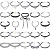26Pcs Set Sexy Black Gothic Punk Velvet Tattoo Lace Layered Charms Choker Necklace DIY Long Wrap