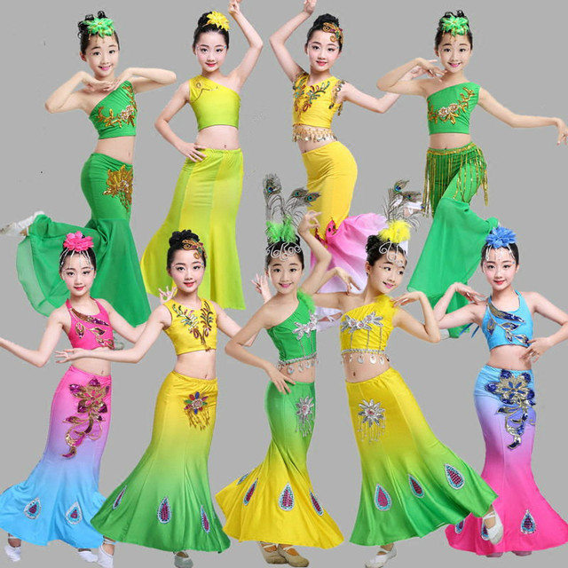90de54987 New Arrive Children's Elastic Peacock Dance Costume Chinese Folk Dance Dai Peacock  Dance Set Stage Costumes for Girls