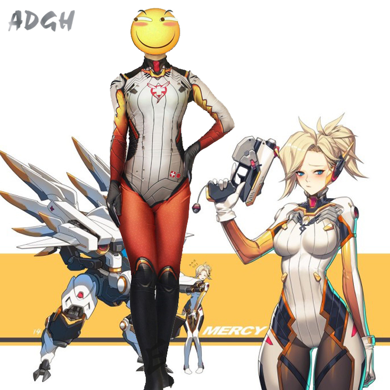 7a80c2ce4fe OW Game Angela Cosplay Mercy long Sleeve Jumpsuit Woman Tight Bodysuit Sexy  Overalls Rompers Party Playsuit Bodycon on Aliexpress.com